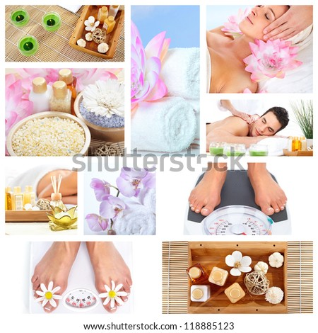 Beautiful Spa massage collage background. Relaxing people.