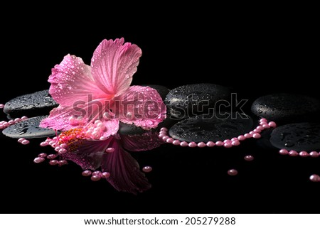 Beautiful spa still life of pink hibiscus, drops and pearl beads on zen stones with reflection deep water - stock photo