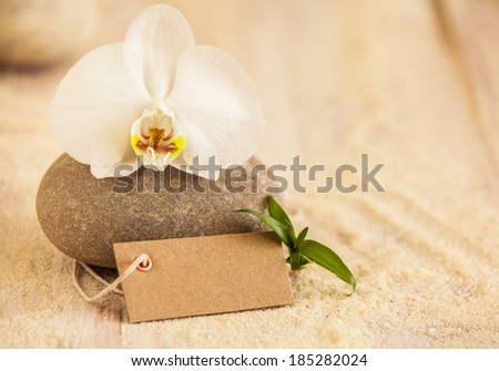 Beautiful spa still life with a pure white fresh phalaenopsis orchid on a massage stone with a blank brown gift tag and golden sea sand depicting treatments, pampering, wellness and beauty - stock photo