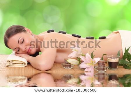 beautiful spa woman lying  - stock photo