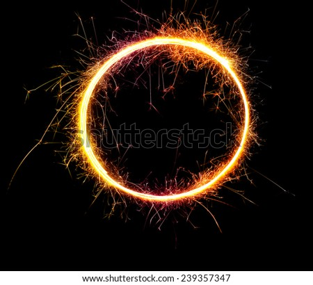 beautiful sparkler in a circle on a black background