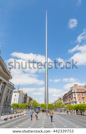 Beautiful spire in the center of Dublin. Monument of light.
