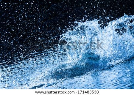 beautiful splash of blue water to drink - stock photo