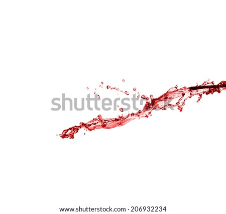 beautiful splash of red wine close-up isolated on white background
