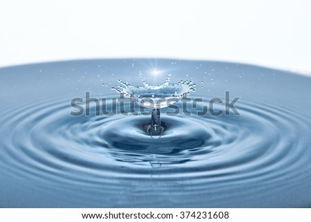 Beautiful splash of Water Drop. Freeze action - stock photo