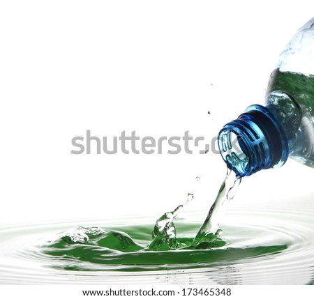 Beautiful splash of water from a bottle - stock photo