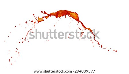 beautiful splashes of red paint isolated on white background