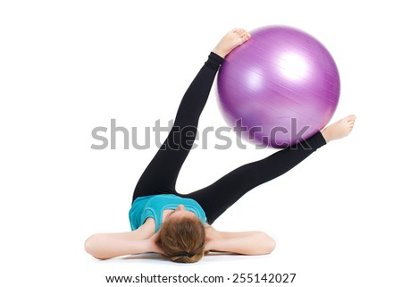 Beautiful sport woman doing stretching fitness exercise on ball. attractive fit woman pilates push up exercise isolated on white. Young woman doing Pilates. woman doing exercises with gym ball. Series