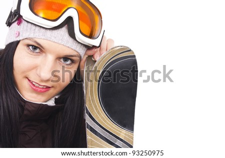 beautiful sporty girl ready for skiing