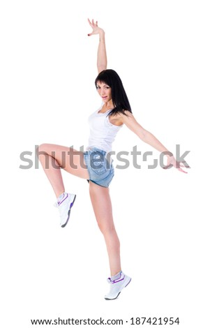 beautiful sporty woman doing exercise, isolated on white background in full length