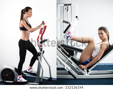 beautiful sporty woman woman doing exercises, sexy