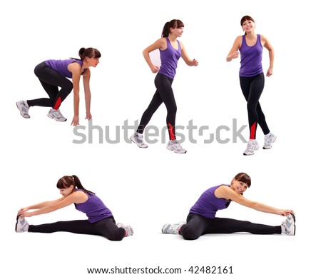 Beautiful sporty young woman in different position. Fitness collection. Active lifestyle. - stock photo