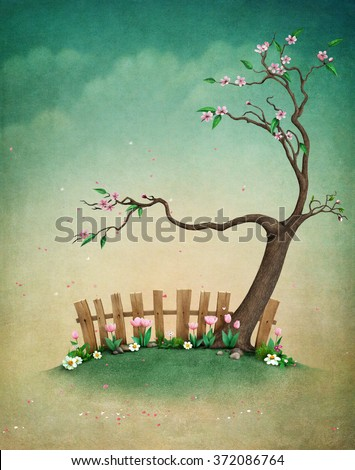 Beautiful spring background with blooming tree for greeting card and illustration.  - stock photo