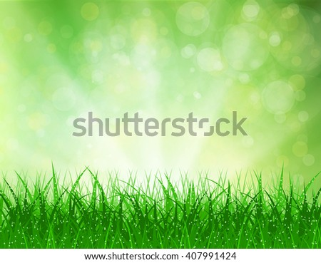 Beautiful spring background with grass and bokeh lights. background summer design green garden nature illustration. morning sunlight grass early dew. eco background Raster version