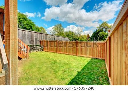 Beautiful spring backyard view - stock photo