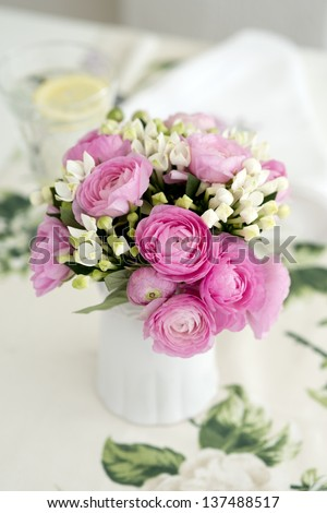 Beautiful spring bouquet of pink and white flowers