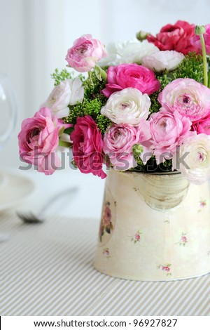 Beautiful spring  bouquet of pink and white ranunculus - stock photo