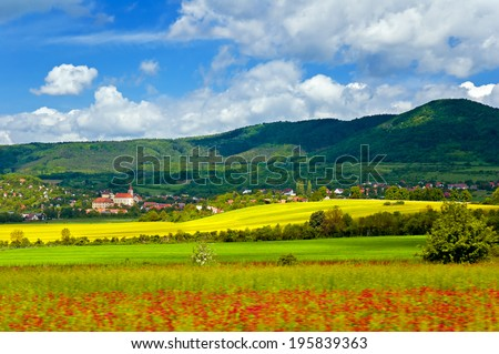 Beautiful spring countryside of the Czech republic, Europe. Photographed from a moving vehicle.
