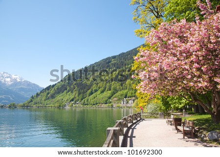Beautiful spring day in Zell Am See, Austria - stock photo