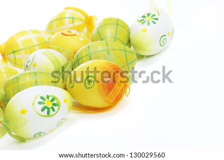 Beautiful spring Easter Eggs on white - stock photo