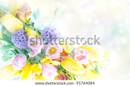 Beautiful Spring Flowers Frame. Advertisement Postcard Design - stock photo