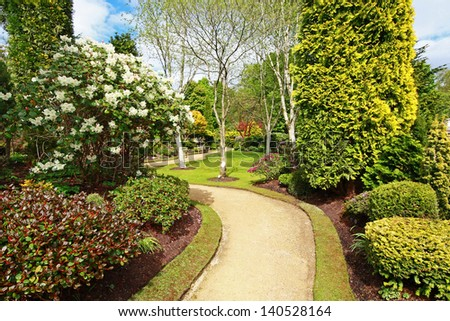 Beautiful spring garden design - stock photo