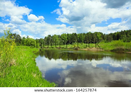 beautiful spring landscape with the river and the forest