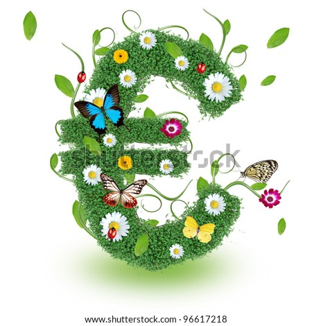 "Beautiful spring letter ""Euro"" - stock photo"
