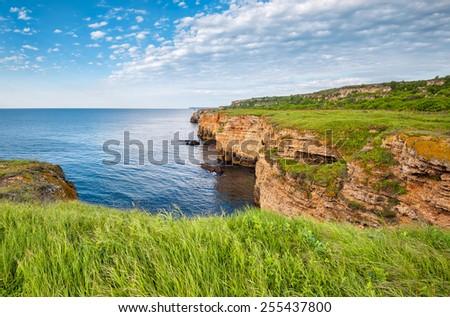 Beautiful spring morning at the wild north Black sea coast near Shabla, Bulgaria  - stock photo