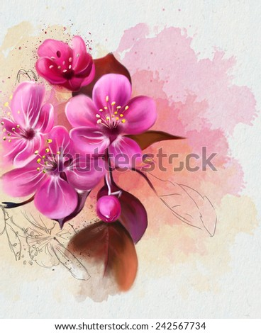Beautiful spring pink flower, Watercolor painting - stock photo