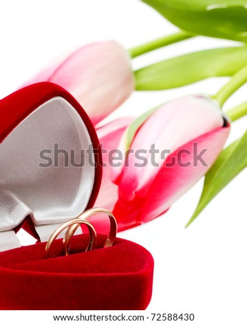 Beautiful spring tulips and wedding rings. Postcard - stock photo