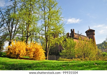 Beautiful spring view of the Valentino's public Park in Turin, Piedmont, Italy. - stock photo