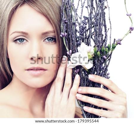 Beautiful spring woman with makeup - stock photo