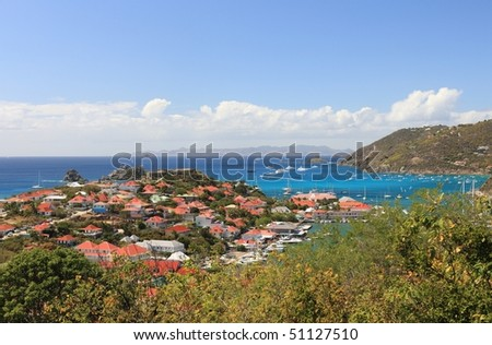 Beautiful St. Barths in the Caribbean on sunny day - stock photo