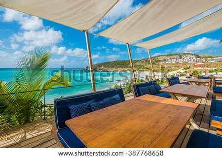 Beautiful St Martin Caribbean ocean vacation destination scene - stock photo