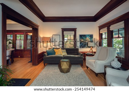 Beautiful staged living room in craftsman house.  - stock photo