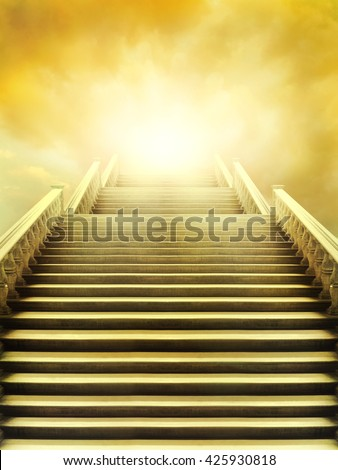Beautiful staircase that leads to the very bright sky - stock photo