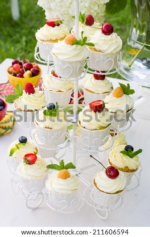 Beautiful stand with mascarpone cupcakes and berries on top on a decorated table set outdoors - stock photo