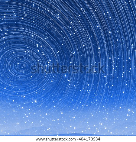 Beautiful star trail image during at night in arctic with aurora - stock photo