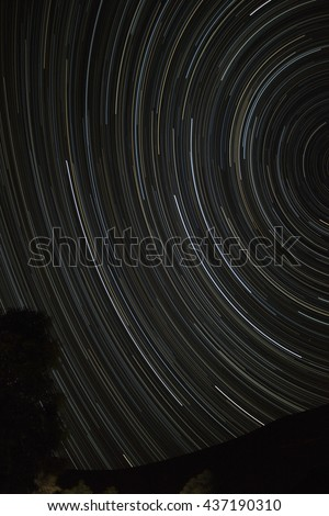 Beautiful star trail image during the night in Sahara. - stock photo