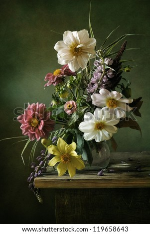 Beautiful still life with a voluptuous bouquet of flowers