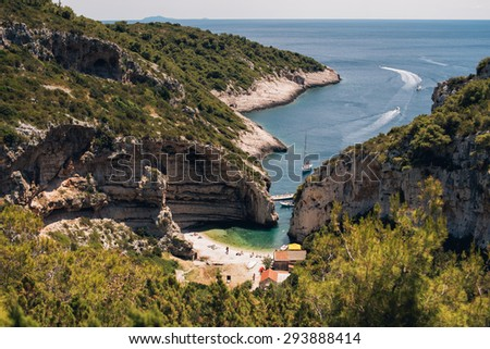 Beautiful Stiniva beach on island of Vis, Croatia - stock photo