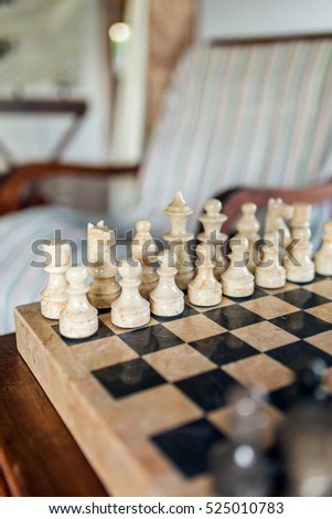 Beautiful Stone Chess Board Close Up In Cozy Living Room