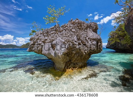Beautiful stone islands in blue bay. Philippines - stock photo