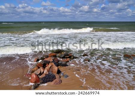 Beautiful storm Baltic sea - stock photo