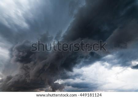 Beautiful storm sky with clouds, apocalypse like. - stock photo
