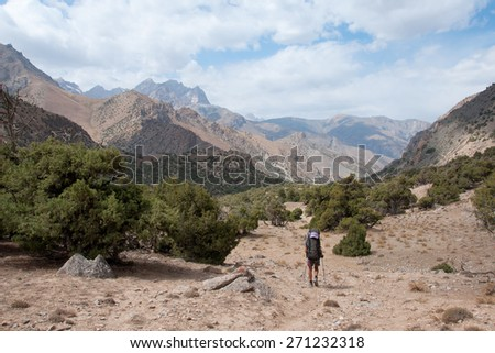 Beautiful stormy turquoise mountain river in the Fan Mountains - stock photo