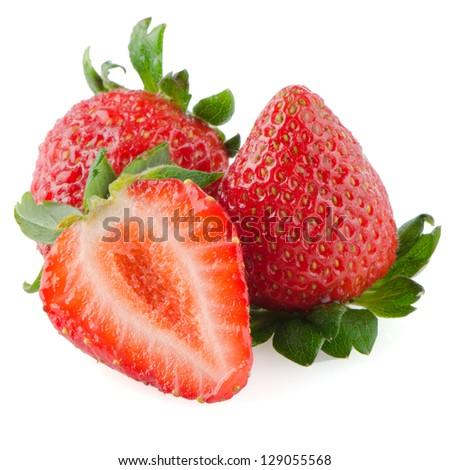 Beautiful strawberries isolated on white background. - stock photo