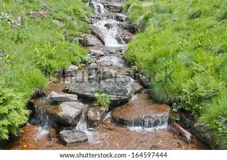 Beautiful stream in the Stara Planina mountain massif in the south-eastern Serbia. - stock photo