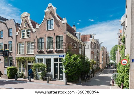 Beautiful street in Amsterdam, Holland (Netherlands) - stock photo